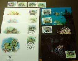 Antigua Barbuda 1987 Mi.1010-13 Fishes WWF  Marine Life, Corals Riff  Maxi Card FDC MNH ** #cover 4993 - W.W.F.
