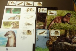 1987 DDR GDR WWF Fischotter European Otter Mi 3107-3110  Maxi Card FDC MNH ** #cover 4995 - W.W.F.