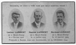BANDE NOEL 1944 : Souvenir Pieux Des Frères Lambert - Décès