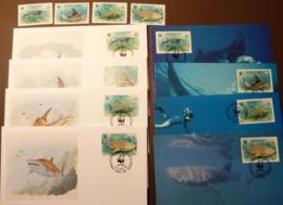 Kiribati 1991 Mi 566-569 MNH WWF MANTA WHALE SHARK  Maxi Card FDC MNH ** #cover 4996 - W.W.F.