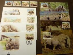 WWF Swaziland 1987  MiNr. 528-531 Nashörner Rhinoceros   Maxi Card FDC MNH ** #cover 4999 - W.W.F.