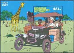 D - [12958]SUP//**/Mnh-c:7e-Congo, BL205, TINTIN Au Congo, Voiture, Animaux - Voitures