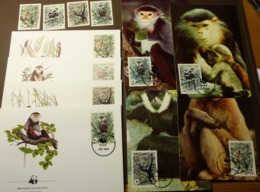 1987 Vietnam WWF Kleideraffe Schopfgibbon Doug Langur-Black Gibbon   Maxi Card FDC MNH ** #cover 5000 - W.W.F.