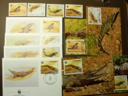 1987 Kongo Congo WWF Krokodile Crocodiles  Mi 1063-66 Maxi Card FDC MNH ** #cover 5001 - W.W.F.