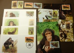 Sierra Leone 1983 WWF Schimpanse Chimpanzees  Affe Mi713-16  Maxi Card FDC MNH ** #cover 5003 - W.W.F.