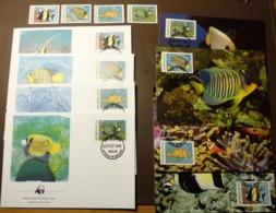 1986 Malediven Maldives WWF Riff-Fische Fish Mi 1198-1201  Maxi Card FDC MNH ** #cover 5005 - W.W.F.