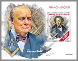 NIGER 2019 MNH Freemasons Freimaurer Francs-macons S/S - IMPERFORATED - DH1939 - Freemasonry