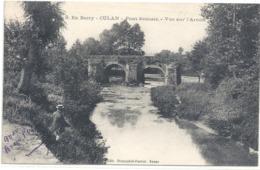 8. EN BERRY . CULAN . PONT ROMAIN - VUE SUR L'ARNON . AFFR AU VERSO LE 18-4-1918 . 2 SCANES - Culan
