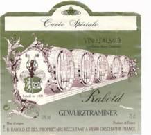 Etiquettes De Vin -B3718 -Rabold -68-Orschwihr  (Cru  Millésime, état;...se Référer Au  Scan)-Envoi Gratuit - Gewurztraminer
