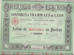 OMNIBUS ET TRAMWAYS DE LYON -  ACTION DE JOUISSANCE -ANNEE 1937 - Chemin De Fer & Tramway