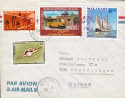 Madagascar FIANGONANA Katolika MOROBE 1979 Cover Lettre KREUZLINGEN Shell Meeresschnecke Ship Volleyball Motorized P.O. - Madagaskar (1960-...)