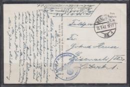 """Dt.Reich Feldpostkarte Berlin 1942 Mit Formations-o """" Heimatstab """" Nach Eisenach - Allemagne"""