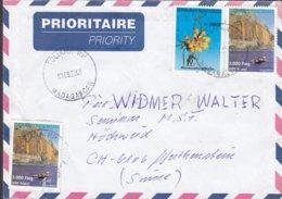 Madagascar Prioritaire Priority TOLIARA 200 Cover Lettre WERTHENSTEIN Suisse Orchid Orchid & Küste Von Nosy Mitsio Stamp - Madagaskar (1960-...)