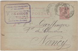 1901 / Carte Commerciale CHARDON / Entier / Spécialité Galoches / Chaussures Sur Mesure / 26 Romans Drome - Maps