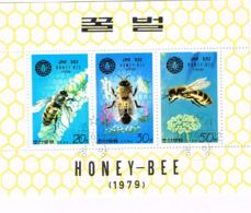 Corée. Bloc. Abeille. Fleurs Mellifères - Bienen