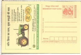 INDIA ENTERO POSTAL TRACTOR AGRICOLA AGRICULTURA JOHN DEERE - Agricultura