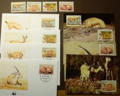 LIBYA  1987 WWF Gazella Leptoceros Dünengazelle Slender-horned Gazelle Maxi Card FDC MNH ** #cover 5016 - W.W.F.