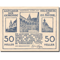 Billet, Autriche, Hagenberg, 50 Heller, Monument 3, 1921 SPL Blanc Mehl:FS 330b - Autriche