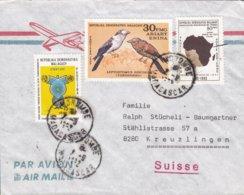 Madagascar Aeroplane Cachet MOROBE 1982 Cover Lettre KREUZLINGEN Suisse Bird Vogel Oiseau Map Landkarte UIT Stamps - Madagaskar (1960-...)