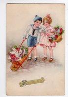 201 - Ph5 - ENFANTS - Couple D'enfants - Courrier - Brouette *illustrateur  Hannes PETERSEN* - Taferelen En Landschappen