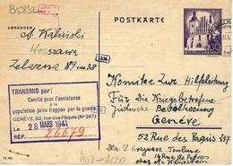 "1941- C P E P General Gouvernement  From Varsovie Ghetto   To Toulouse Via Genève  "" Comité Pour L'assistance .......... - WW II"