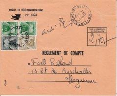 Env N° 1494 RECOUVREMENTS Obl LINGOLSHEIM Du 8.9.1964 Adressée à Haguenau AVEC TAXE DE 2.70 - Alsace Lorraine