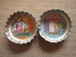 2 Coca-cola Caps Capsule - Clodettes Claude François Paris Veurne Furnes Will Tura - Brassico Ghlin (Belgium) - Soda