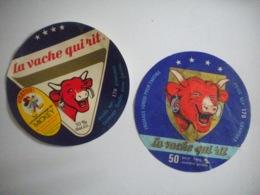 2 étiquettes Fromage La Vache Qui Rit 170gr MICHEY Walt Disney Et Traditionnelle 170 Gr - Kaas