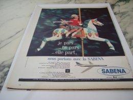 ANCIENNE PUBLICITE JE PARS TU PARS  SABENA  1961 - Advertisements