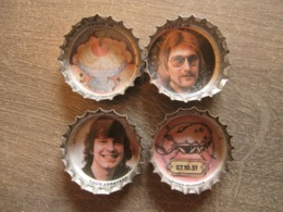 4 Coca-cola Caps Capsule - Teach In Rock Pop Band Music - Brassico Ghlin (Belgium) - Soda