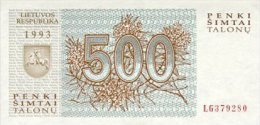 Lithuania 500 Talonas  1993  Pick 46 UNC - Lituania