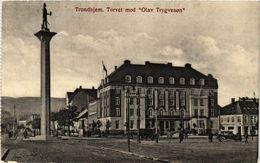 """CPA AK NORWAY Trondhjem Torvet Med """"Olav Trygvesen"""" (257475) - Norvège"""