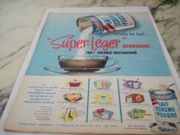 ANCIENNE  PUBLICITE LAIT ECREME  HEUDEBERT 1961 - Posters