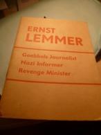 Histoire - Nazisme : Ernst Lemmer , Goebbels Journalist Nazi Informer Revenge Minister - Livres, BD, Revues