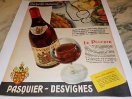 ANCIENNE PUBLICITE LE PELERIN DE PASQUIER DESVIGNES 1961 - Alcohols