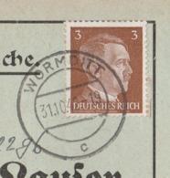 Ostpreussen Deutsches Reich Karte Mit Tagesstempel Wormditt Lk Braunsberg RB Königsberg 1942 Werbung - Briefe U. Dokumente