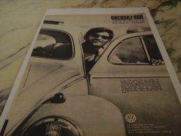 ANCIENNE PUBLICITE EXCUSEZ MOI VOITURE  VOLKSWAGEN  COCCINELLE 1961 - Cars
