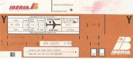 PASSENGER TICKET - BILLETE DE PASAJE / IBERIA 1989 BARCELONA CAIRO - Boarding Pass - Monde
