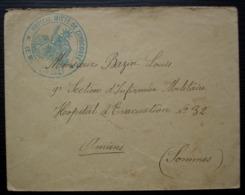 Zuydcoote (Nord) Hôpital Mixte Lettre Pour L'Hôpital D'évacuation N°32 à Amiens - Guerre De 1914-18