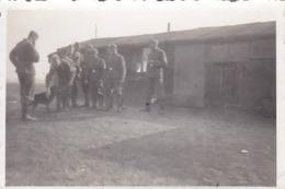 Foto Deutsche Soldaten Mit Hund Vor Einer Baracke - 2. WK -  8*5cm (43888) - Krieg, Militär