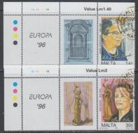 Europa Cept 1996 Malta 2v (+label) Used (44897A) - Europa-CEPT