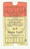 TICKET - ENTRADA / MINISTERE DE LA CULTURE C.N.M.H.S. - 1985 - Tickets - Entradas