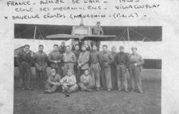 """Carte Photo """"école Des Mécaniciens Villacoublay 1920"""" - Aviateurs"""