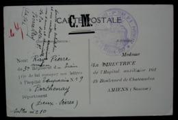 Parthenay 9 Eme Corps D'armée Hôpital Temporaire N°9, Cachet Sur Carte Des Nouvelles Galeries à Amiens (jouets étrennes) - 1. Weltkrieg 1914-1918
