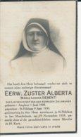 Doodsprentje Zuster Alberta (Marie-Louise DEBENT) ° Angleur 1908 + Sint-Niklaas 1933 - Religión & Esoterismo