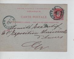 PR7352/ Entier CP Léopold II 10 C Perforé J.D.F. C.Anvers 1884 > Comité Expo Universelle D'Anvers C.d'arrivée - 1863-09