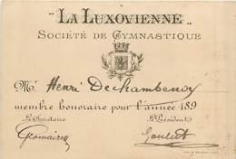 70* LUXEUIL  Carte Menbre Sté Gymnastique ( 8x12cm)           MA95,0865 - Luxeuil Les Bains
