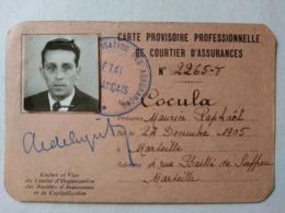 WW2 Marseille - Carte D'identité Provisoire Professionnelle De Courtier D'assurance - 1943 - TBE - Historical Documents