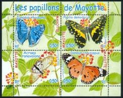 MAYOTTE 2004 - Yv. 154 à 157 **   Faciale= 2,00 EUR - Feuillet Papillons (4 Val.)  ..Réf.AFA23339 - Mayote (1892-2011)