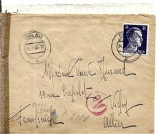 DE  HOLAU   à  VICHY  En 1943 COURRIER De  PRISONNIER Avec LETTRE BANDE DE CENSURE - Allemagne